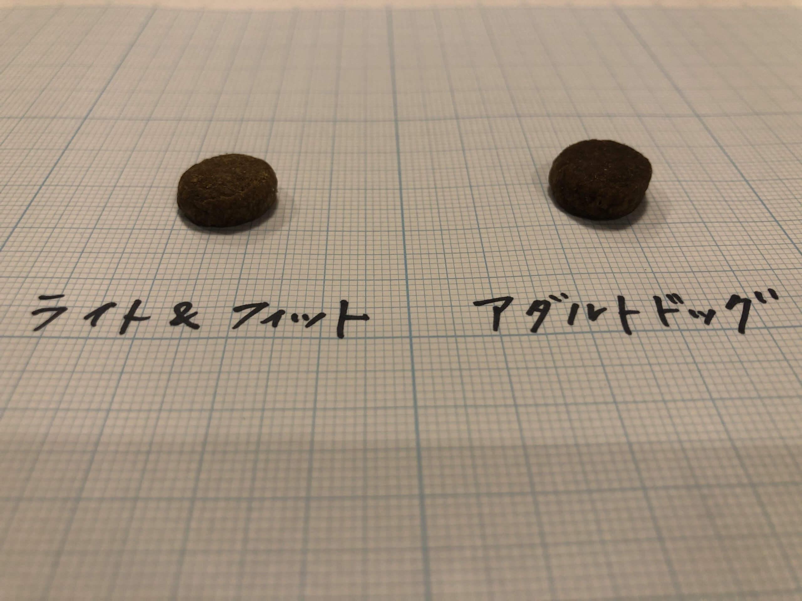 アカナ アダルトドッグとアカナ ライト&フィットの粒の比較