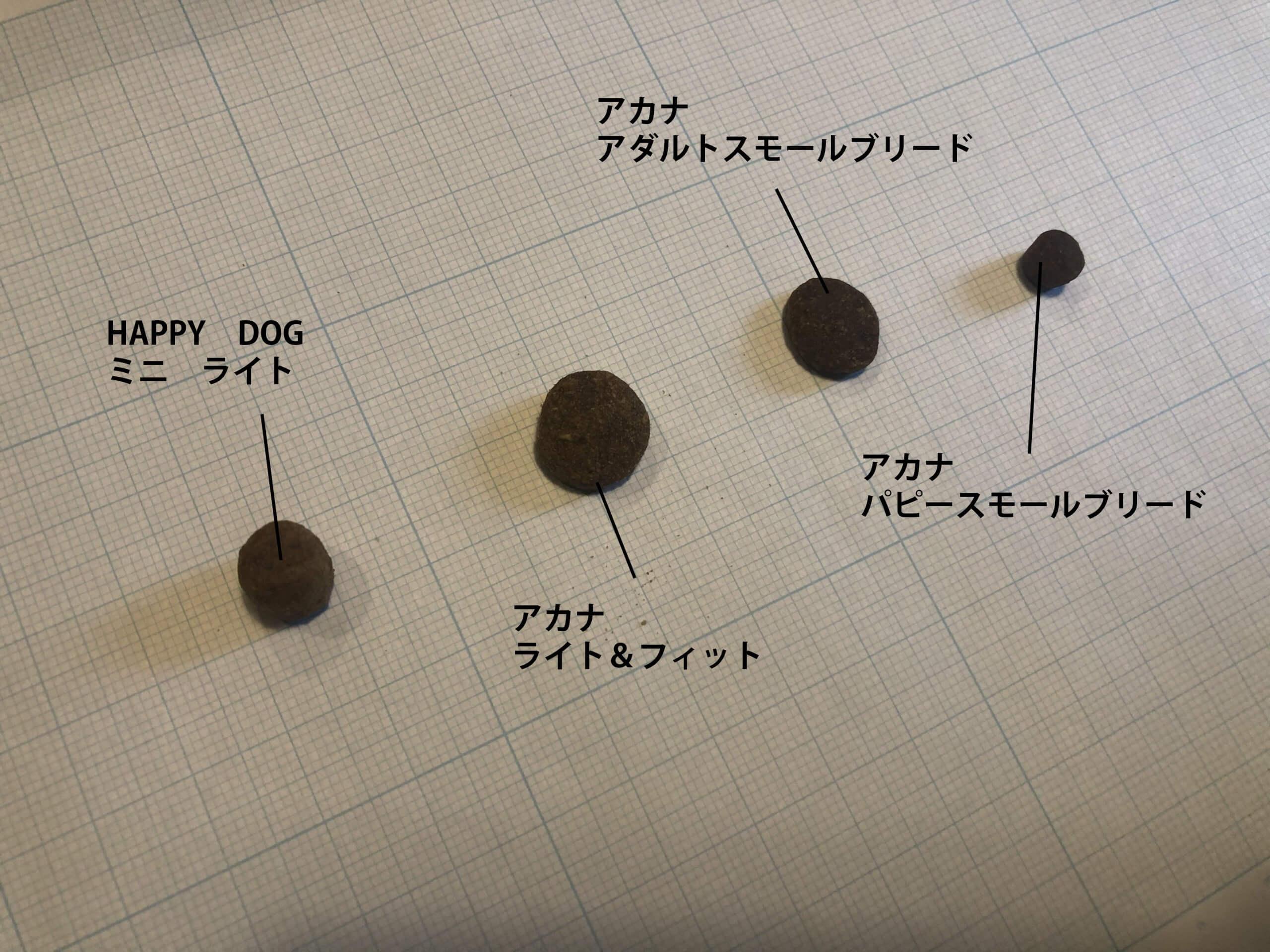 HAPPY DOGとアカナの粒の大きさ比較
